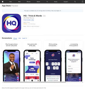 HQ's presence on the iOS App Store