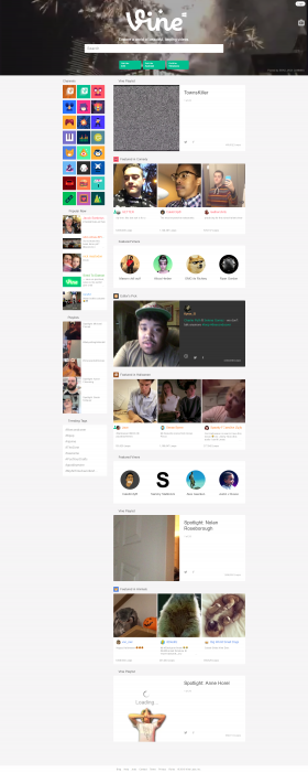 Vine's desktop home page in late 2016