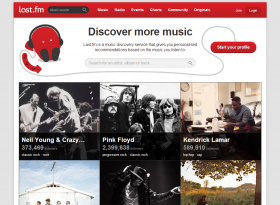 The home page of Last.fm, as seen on May 4, 2013.