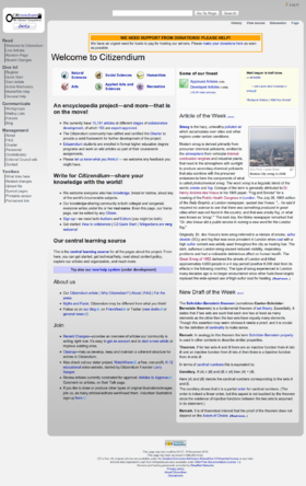 Citizendium mainpage in 2010-12-21