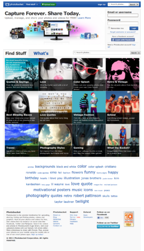 The Photobucket home page as seen on 2011-01-12