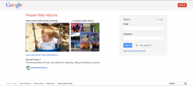 A screen shot of the Picasa Web Albums home page taken on 10 April 2012.